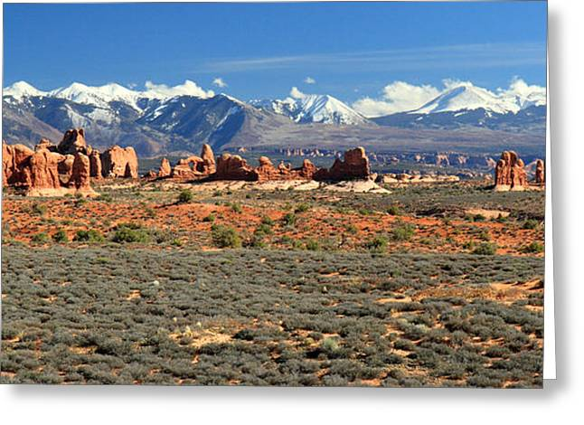Road Trip Greeting Cards - The windows and La Sal mountains in Arches National park Greeting Card by Pierre Leclerc Photography