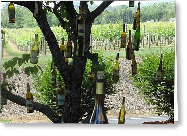 Red Wine Bottle Greeting Cards - The Wine Tree Greeting Card by Joe Hagarty