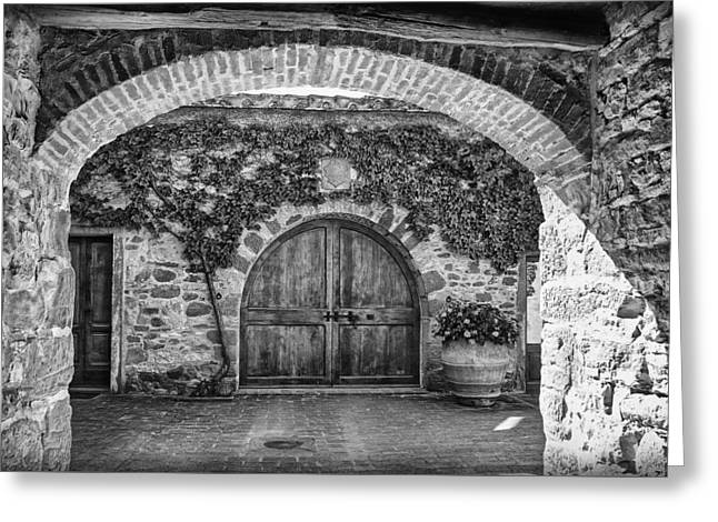Tuer Greeting Cards - The Winerys Entrance B/W Greeting Card by Hanny Heim