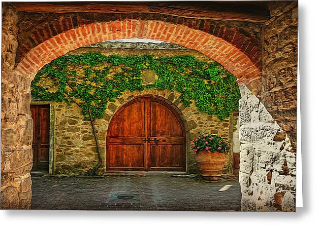 Tuer Greeting Cards - The Winerys Entrance Greeting Card by Hanny Heim