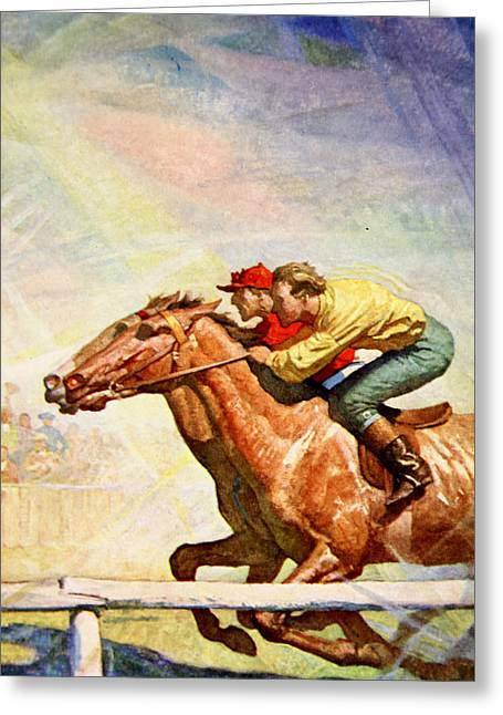 The Winning Post Greeting Card by Newell Convers Wyeth