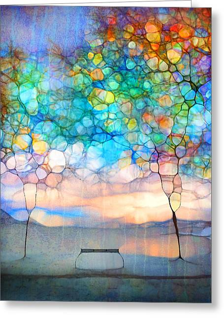 Euphoria Greeting Cards - The Winter Bench Dreams of Summer Greeting Card by Tara Turner