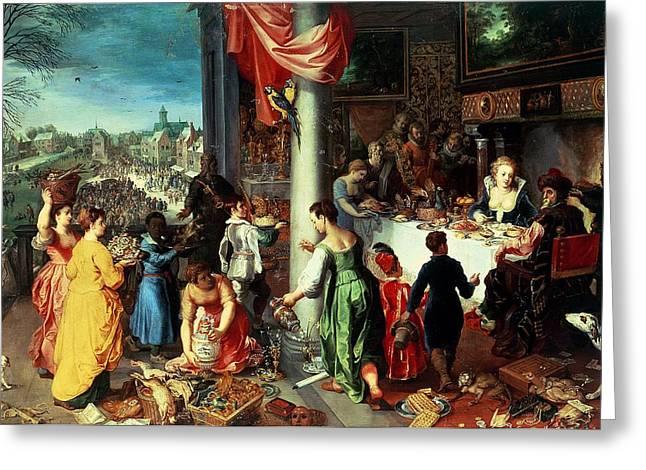The Winter Feast Greeting Card by Hendrik van the Elder Balen