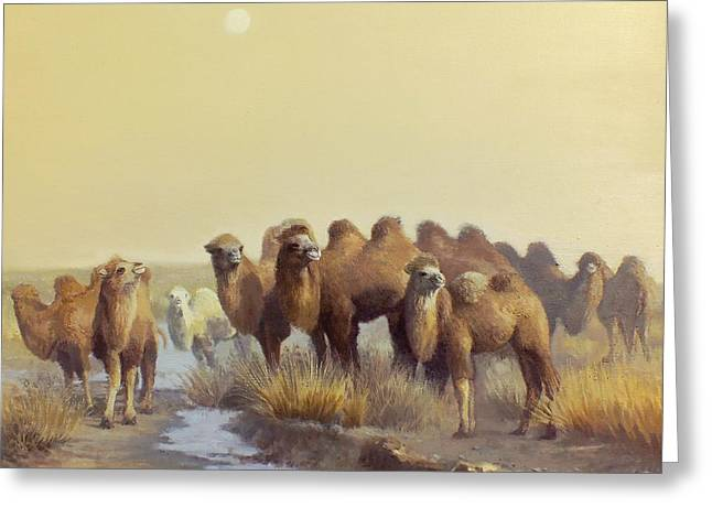 The Winter Of Desert Greeting Card by Chen Baoyi