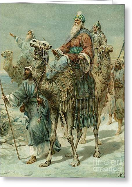 The Wise Men Seeking Jesus Greeting Card by Ambrose Dudley