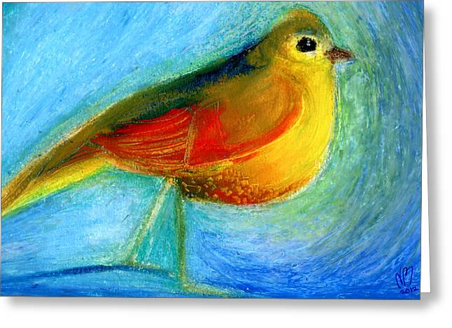Bird Cage Greeting Cards - The Wishing Bird Greeting Card by Nancy Moniz