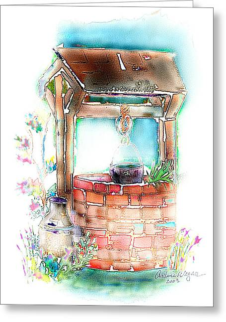 Wishes Mixed Media Greeting Cards - The Wishing Well Greeting Card by Arline Wagner