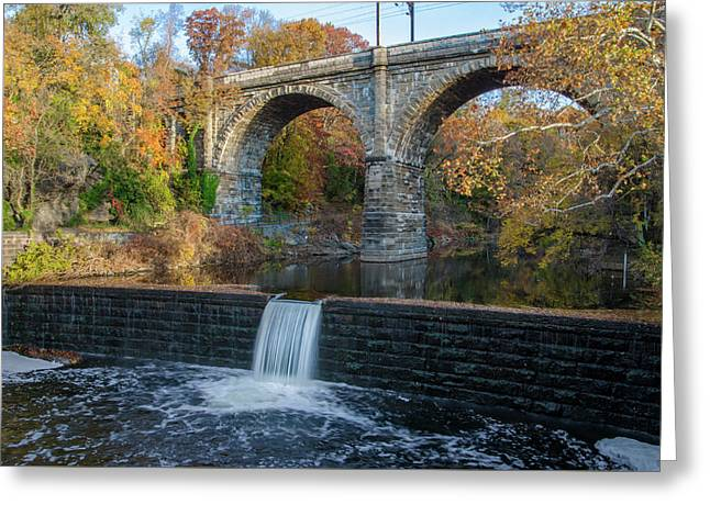 The Wissahickon Creek At Ridge Avenue In Autumn Greeting Card by Bill Cannon