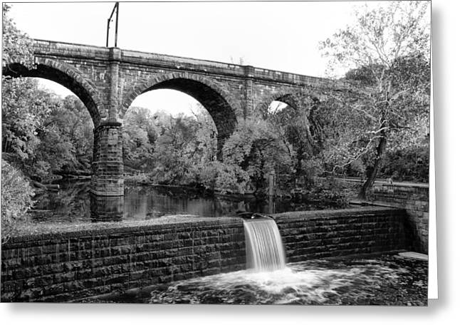Wissahickon Greeting Cards - The Wissahickon Creek at Ridge Avenue in Black and White Greeting Card by Bill Cannon