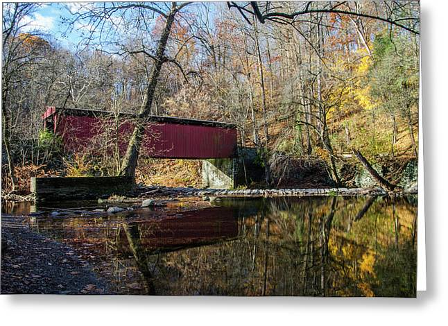 The Wissahickon Creek - Thomas Mill Covered Bridge Greeting Card by Bill Cannon