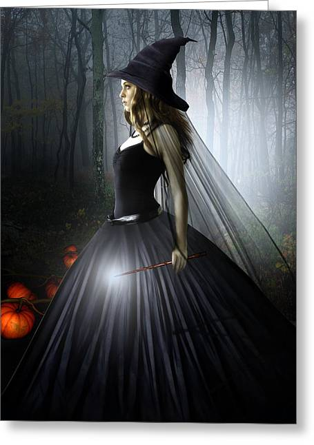 Witch Greeting Cards - The Witching Hour Greeting Card by Julie L Hoddinott