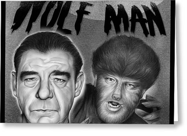 The Wolf Man Greeting Card by Greg Joens