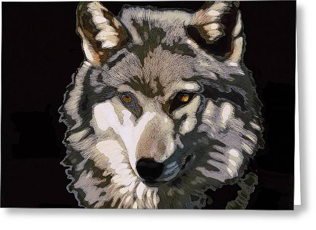 The Wolf Greeting Card by Shaun Poole