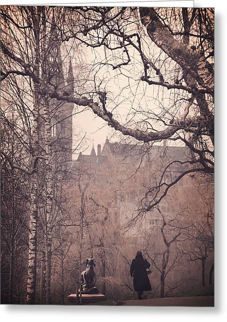Wintry Greeting Cards - The Woman in Black Greeting Card by Carol Japp