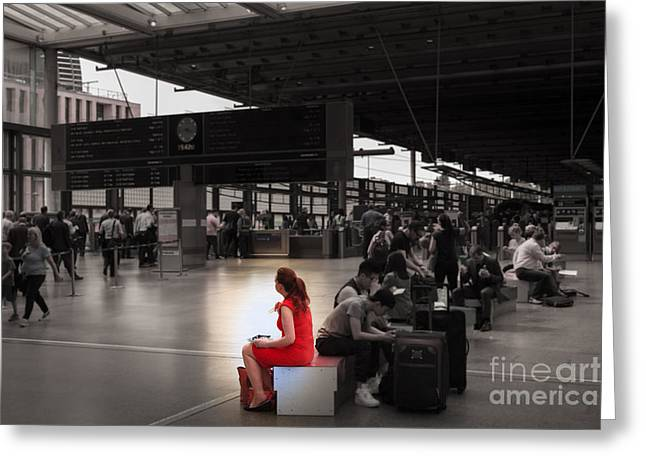People Greeting Cards - The woman in the red dress  Greeting Card by Peter Noyce