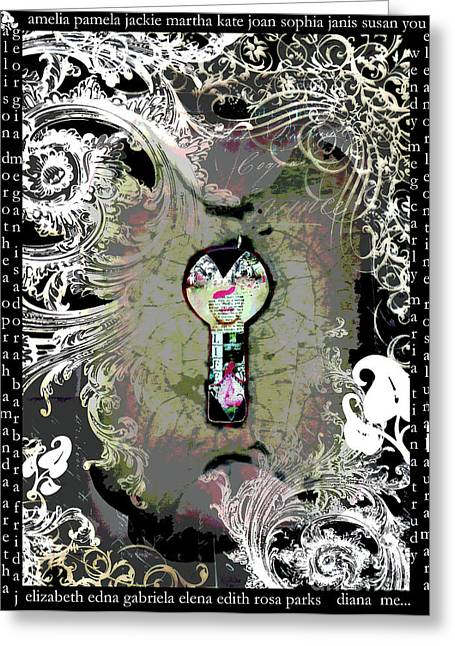 Mulher Greeting Cards - The woman through the Keyhole Greeting Card by Anahi DeCanio