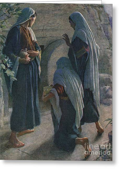 The Women At The Sepulchre Greeting Card by Harold Copping