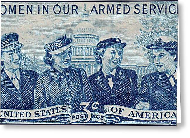 Airforce Paintings Greeting Cards - The Women in Armed Services stamp Greeting Card by Lanjee Chee