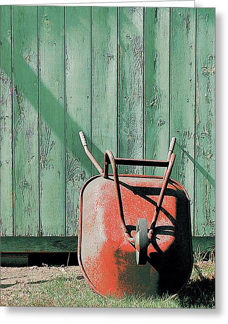 Shed Greeting Cards - The Wonderful Wheelbarrow Greeting Card by Lori Pessin Lafargue