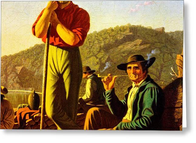 Schooner Greeting Cards - The Wood Boat 1850 detail Greeting Card by George Caleb Bingham