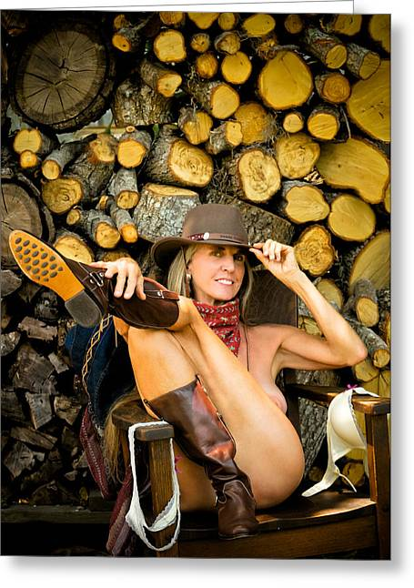 Boot Fetish Greeting Cards - The Wood Pile Greeting Card by N Taylor