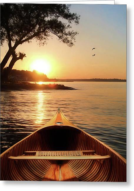 The Wooden Canoe Greeting Card by Lori Deiter