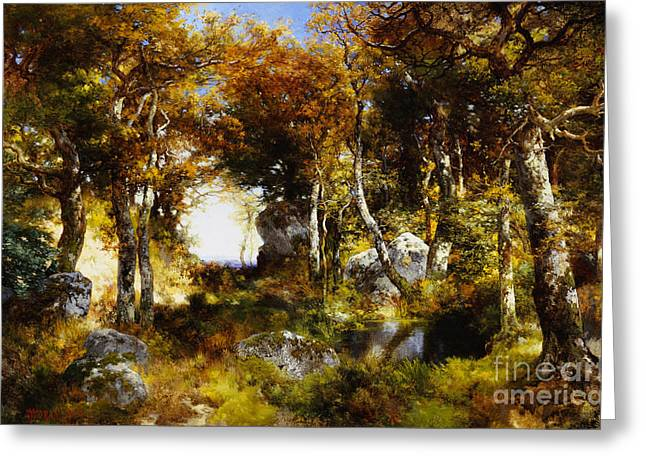 The Country School Greeting Cards - The Woodland Pool Greeting Card by Thomas Moran