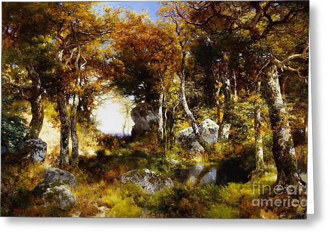 The Woodland Pool Greeting Card by Thomas Moran
