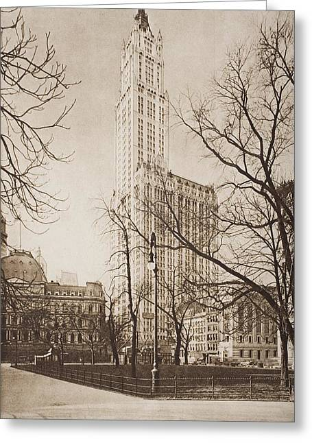 Bare Trees Drawings Greeting Cards - The Woolworth Building, New York. From Greeting Card by Ken Welsh