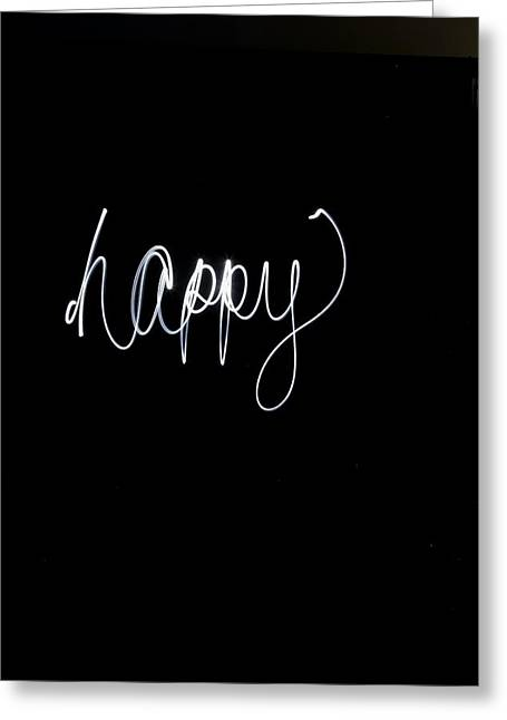 Words Background Greeting Cards - The Word Happy In White Light Greeting Card by Gillham Studios