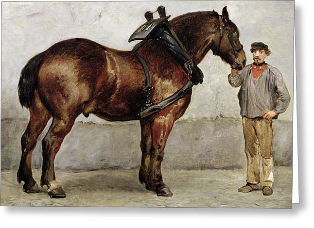 Horseman Greeting Cards - The Work Horse Greeting Card by Otto Bache