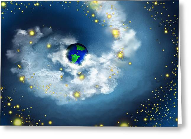 Star In Hand Greeting Cards - The World In His Hands Greeting Card by Methune Hively