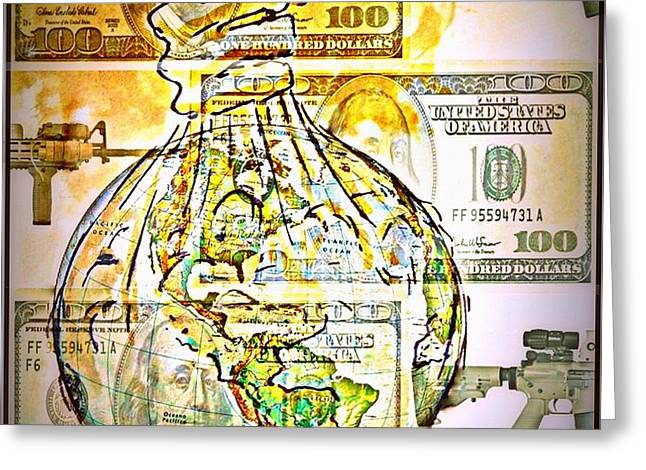 The World Is Money Greeting Card by Paulo Zerbato