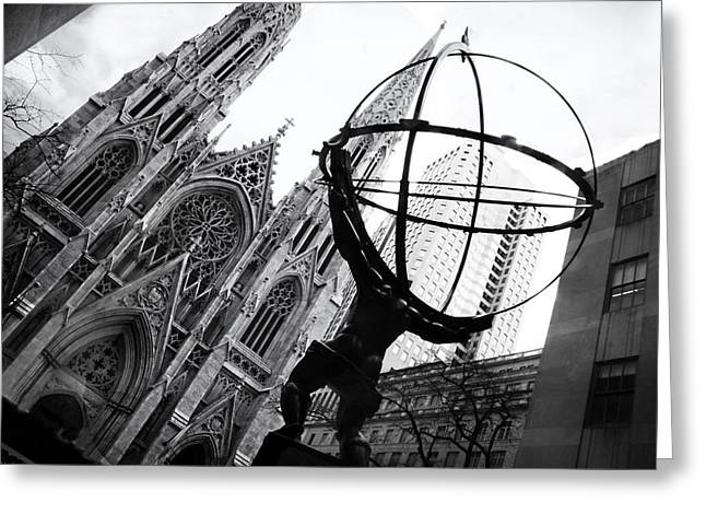 The World On His Shoulders Greeting Card by Jessica Jenney