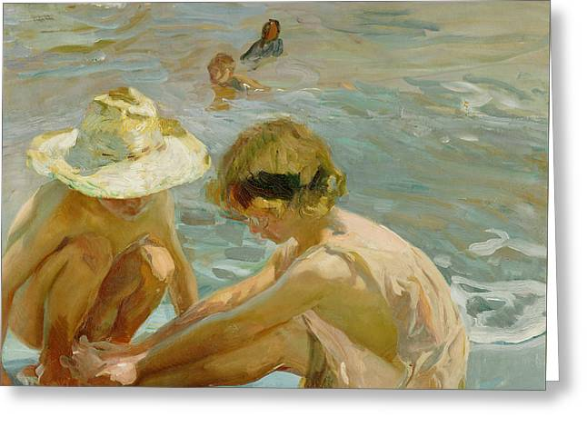 The Wounded Foot Greeting Card by Joaquin Sorolla y Bastida