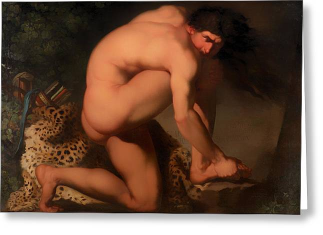 Leopard Skin Greeting Cards - The Wounded Philoctetes  Greeting Card by Nicolai Abildgaard