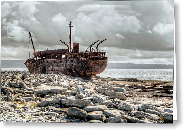 Aran Islands Greeting Cards - The Wreck of Plassey Greeting Card by Natasha Bishop