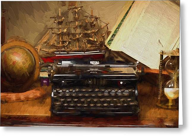 Olivetti Digital Greeting Cards - The Writers Nook - Vintage Royal Typewriter Greeting Card by D S Images