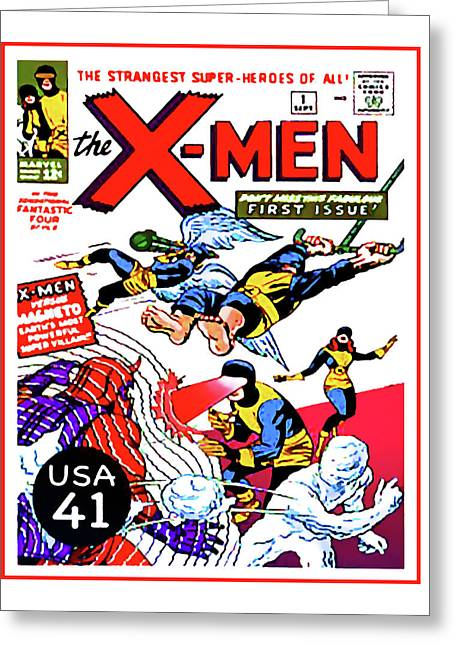 Book Title Paintings Greeting Cards - The X-Men comic book cover Greeting Card by Lanjee Chee