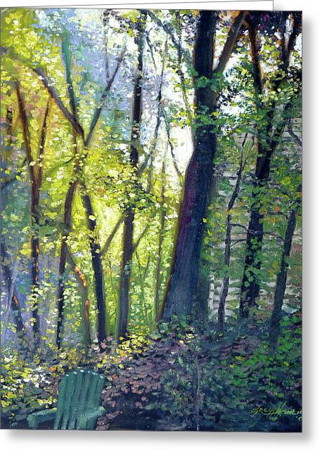 Dew Paintings Greeting Cards - The Yard - Summer Dawn Greeting Card by Gregg Hinlicky