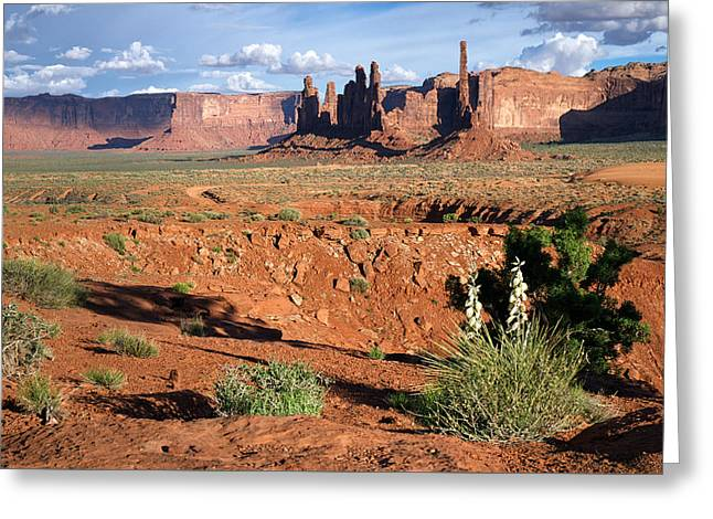 Hogan Greeting Cards - The Yei Bi Chei and Totem Pole in Monument Valley Utah Greeting Card by Mary Lee Dereske