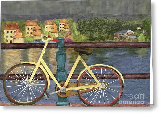 Van Gogh Style Greeting Cards - The Yellow Bicycle  Greeting Card by Sydne Archambault