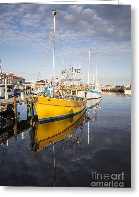 Fishing Boats Greeting Cards - The Yellow Boat Greeting Card by Linda Lees