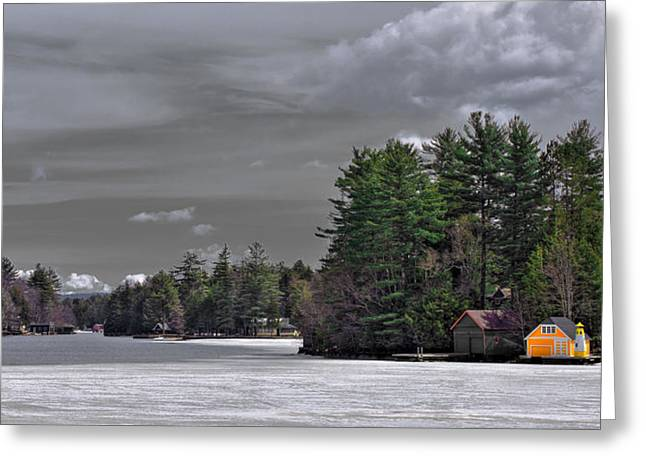 Patterson House Greeting Cards - The Yellow Boathouse in Early Spring Greeting Card by David Patterson
