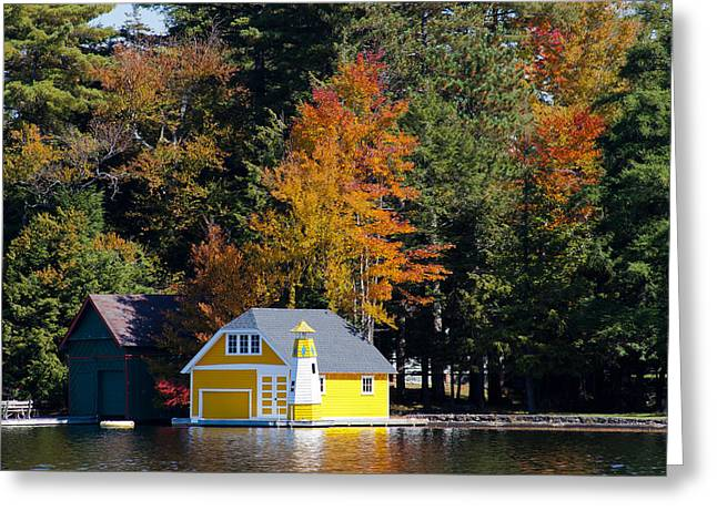 David Patterson Greeting Cards - The Yellow Boathouse on Old Forge Pond Greeting Card by David Patterson
