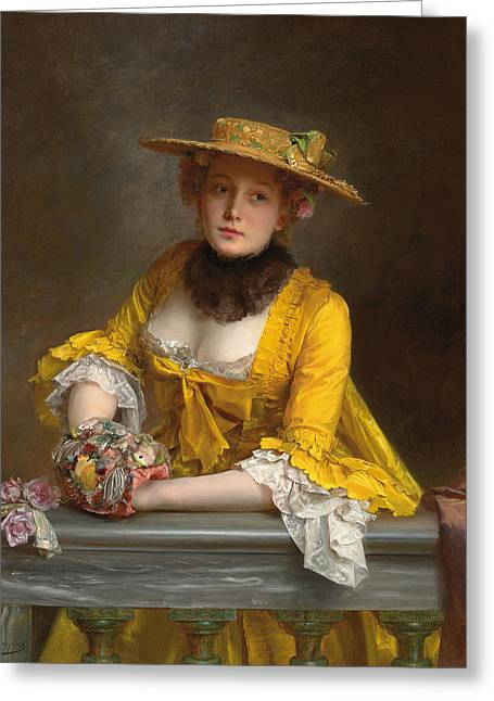 The Yellow Dress Greeting Card by Gustave Jacquet