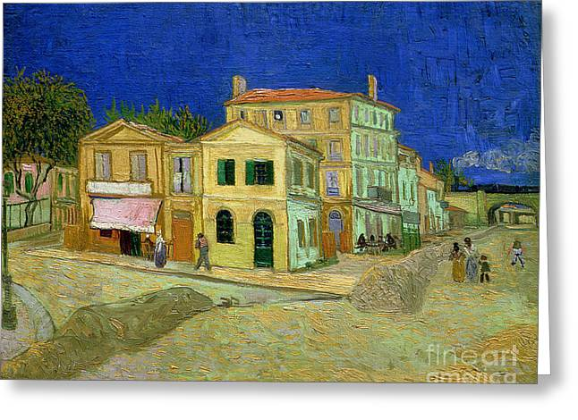 Arles Paintings Greeting Cards - The Yellow House Greeting Card by Vincent Van Gogh