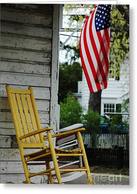 Small Town Life Greeting Cards - yellow Rocking Chair and American Flag Greeting Card by ArtyZen Studios - ArtyZen Home