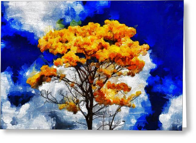 D.w. Paintings Greeting Cards - The Yellow Wishing Tree - You Gonna Be Yery Lucky  Greeting Card by Sir Josef  Putsche Social Critic