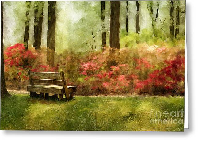 Park Benches Digital Art Greeting Cards - The You You Used To Be Greeting Card by Lois Bryan
